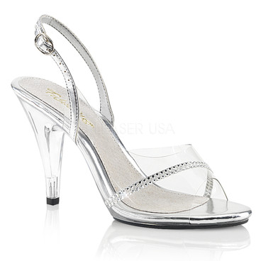 4 Inch Clear Slingback Sandal with Rhinestones Fabulicious CARESS-456