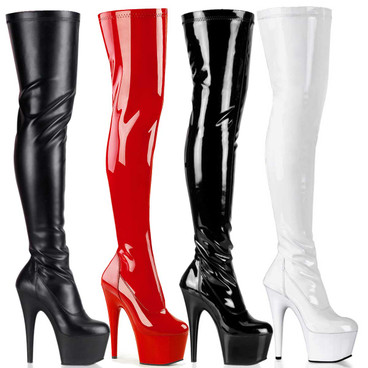 ADORE-3000, 7 Inch Stripper Thigh High Boots by Pleaser USA