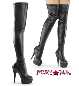 "Pleaser DELIGHT-3000, Exotic Dancer 6"" Platform Stretch Thigh High Boots"