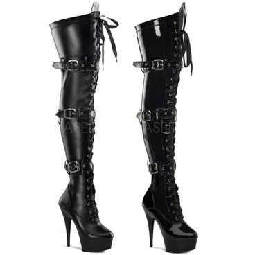 Pleaser Boots | DELIGHT-3028, Platform Buckle Platform Thigh High Boots