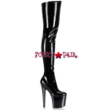 Pleaser TABOO-3000, 7.5 Inch Heel Thigh High Boots