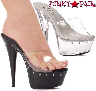 609-Harmony, 6 Inch Stiletto High Heel with 1.75 Inch Platform with Rhinestones Made by ELLIE Shoes
