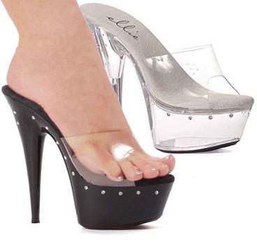 "Ellie Shoes   609-Harmony 6"" Platform with Rhinestones"