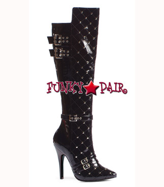 "Ellie Shoes | 511-Gwen 5"" heel Knee High Boot with Stud color Black patent"