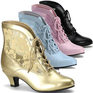 Victorian Ankle Boots DAME-05, made by Funtasma Costume boots