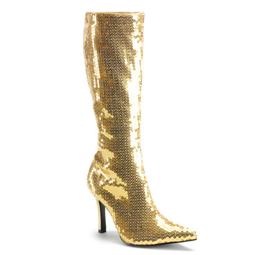 LUST-2001SQ, Gold Sequins Knee High Boots | Funtasma