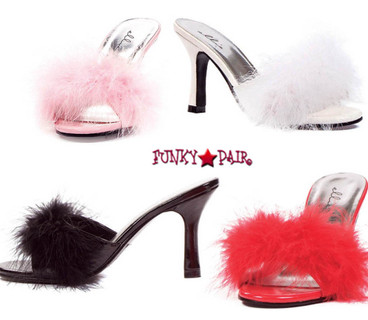 "Ellie Shoes | 361-Sasha 3.5"" Fur Marabou Slipper"