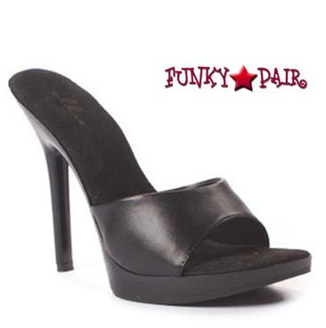 "Ellie Shoes | 502-Vanity 5"" Clear High Heel Black Faux Leather"