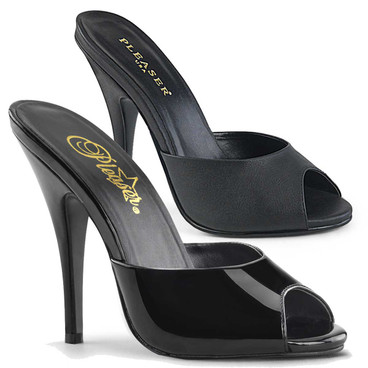 Seduce-101, Peep Toe Mule Color Available: Black patent, Black Faux Leather Pleaser Shoes |