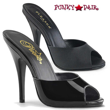 Pleaser Shoes | Seduce-101, Peep Toe Mule Color Available: Black patent, Black Faux Leather