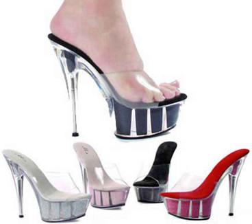 "Ellie Shoes   609-Glitter 6"" Platform Glitter Sandal"