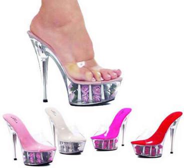 """Ellie Shoes   Platform with Rose Fill Sandal 609-Roses 6"""""""