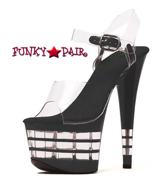 709-Stack, 7 Inch Stiletto High Heel with 2.75 Inch Platform Lined Sandal Made By ELLIE Shoes