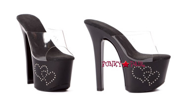 711-Heart, 7 Inch Stiletto High Heel with 2.75 Inch Platform Sandal with Rhinestones Heart Made By ELLIE Shoes