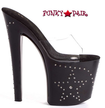 821-Star, 8 Inch Stiletto High Heel with 3.75 Inch Platform Sandal with Stars Made By ELLIE Shoes @funkypair.com