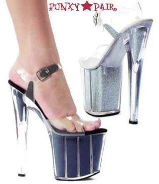 821-Glitter, 8 Inch Stiletto High Heel with 3.75 Inch Platform Glitter Filled Sandal Made By ELLIE Shoes