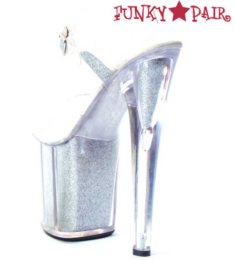 Ellie Shoes   821-Glitter 8 Inch Glitter Filled Sandal Silver