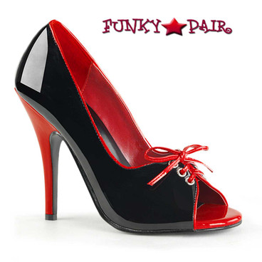 Pleaser | Seduce-216, 2-Tone and Open Toe Pump color black/red