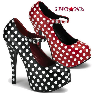 TEEZE-08, 5.75 Inch Stiletto High Heel with 1.75 Inch Polka Dot Mary Jane Platform Pump