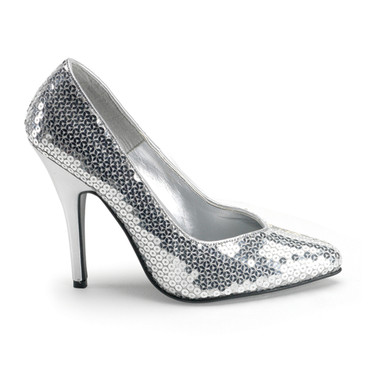 Seduce-420SQ, Silver Sequin Classic Pumps by Pleaser