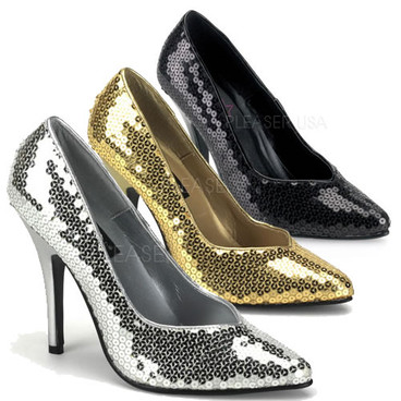 Seduce-420SQ, 5 Inch High Heel Sequin Classic Pumps