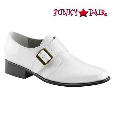 LOAFER-12, Men Disco Loafer Shoes | White Faux Leather