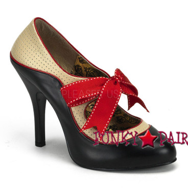 Tempt-27, 4.5 Inch High Heel Two Tone Pump with Bow Made By Bordello