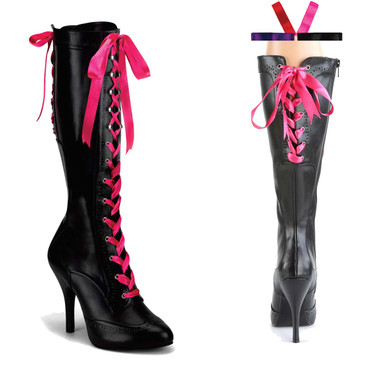 Tempt-125 Lace up Knee High Boot | Bordello