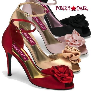 Bordello | Rosa-02, Peep Toe Sandal with Rose