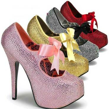 Bordello | Teeze-04R, Platform Rhinestone Shoes