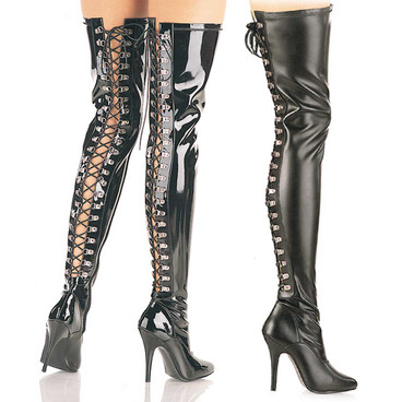 Open Back D-ring Lace-up Thigh Boot Pleaser | Seduce-3063,