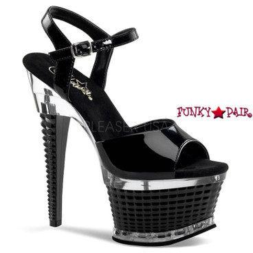 Stripper Shoes   ILLUSION-659, 6.5 Inch Heel Ankle Strap Shoes