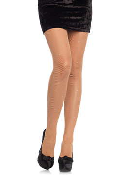 Leg Avenue | LA-9008, Fishnet PantyHose with Rhinestones available color: Nude, Black
