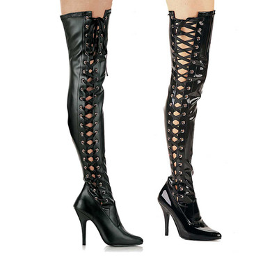 Side Slit Stretch Thigh High Boots Pleaser | Seduce-3050,