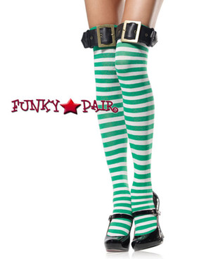 White/Green Striped Thigh Highs with Belt | Leg Avenue (6898)