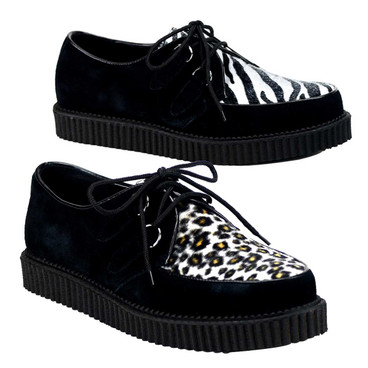 Demonia | Men Creeper-600, Animal Print Shoes color leopard and zebra