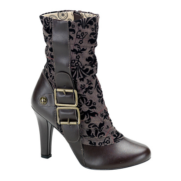 Demonia | Steampunk Victorian Ankle Boots Tesla-106