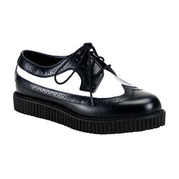 Creeper-608, Black/White Oxford Leather Creeper * Creeper-608 Made by Demonia