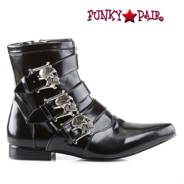 Demonia | Men BROGUE-06, Winklepicker Boots with Skull Buckles
