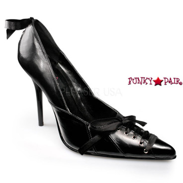PLEASER Shoes Milan-07, Stiletto Heel Leather Pump with Bows Made By
