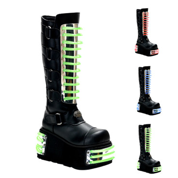 Techno-854uv, Cyber Goth Boots With UV Panels Demonia | Men