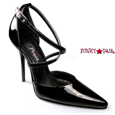 Milan-42, Quarter Criss Cross D'Orsay Heels Made By PLEASER Shoes black patent