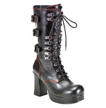 Demonia Gothika-101, Punk Lace Up Calf Boots
