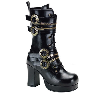 Gothika-100, Steampunk Calf Boot with Gear Buckle | Demonia