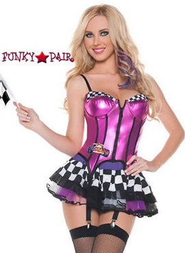 M0004, Fast Lane Racer costume includes a bustier, skirt and flag