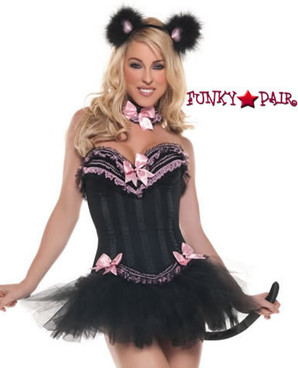 T0069, Carousel Kitty Costume includes a corset, skirt, tail, neckpiece and headpiece