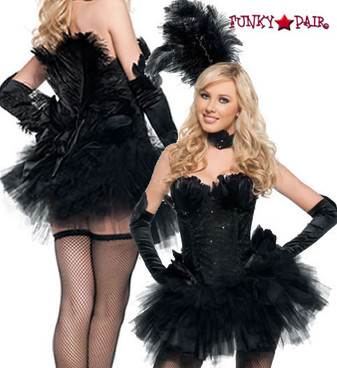 T0070, Black Swan costume includes a corset, skirt tail, neckpiece, headpiece and gloves