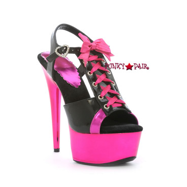 609-Gabby, 6 Inch High Heel with 1.75 Inch Platform Lace Up T-strap Sandal Color Black/ Fuchsia Made by ELLIE Shoes