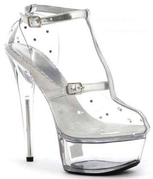 "Ellie Shoes | 609-Gia 6"" Clear Heel with rhinestones"