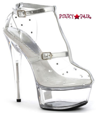 609-Gia, 6 Inch Stiletto High Heel with 1.75 Inch Clear Platform Made by ELLIE Shoes
